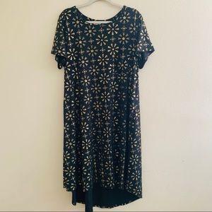 Carly Plus Gold Snowflake Black Dress Lularoe